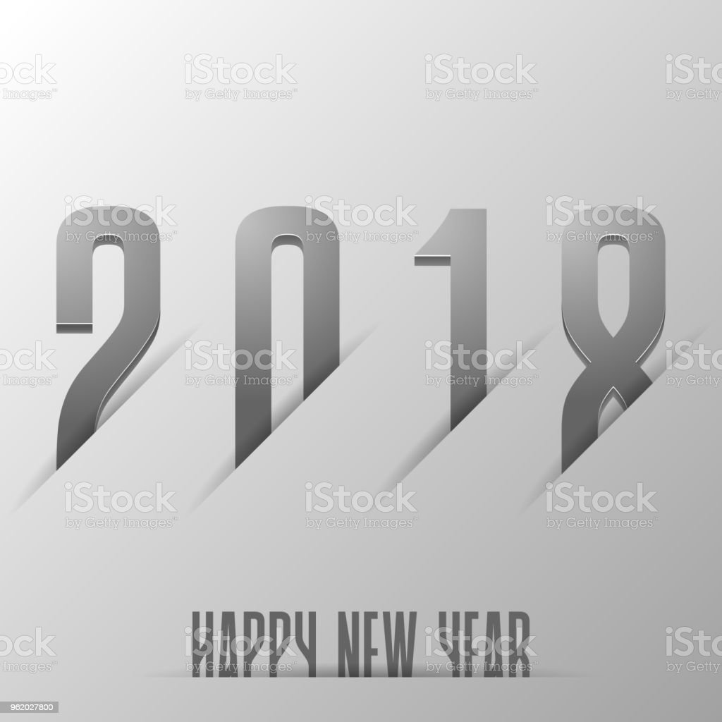 Happy new year 2018 text desain vector