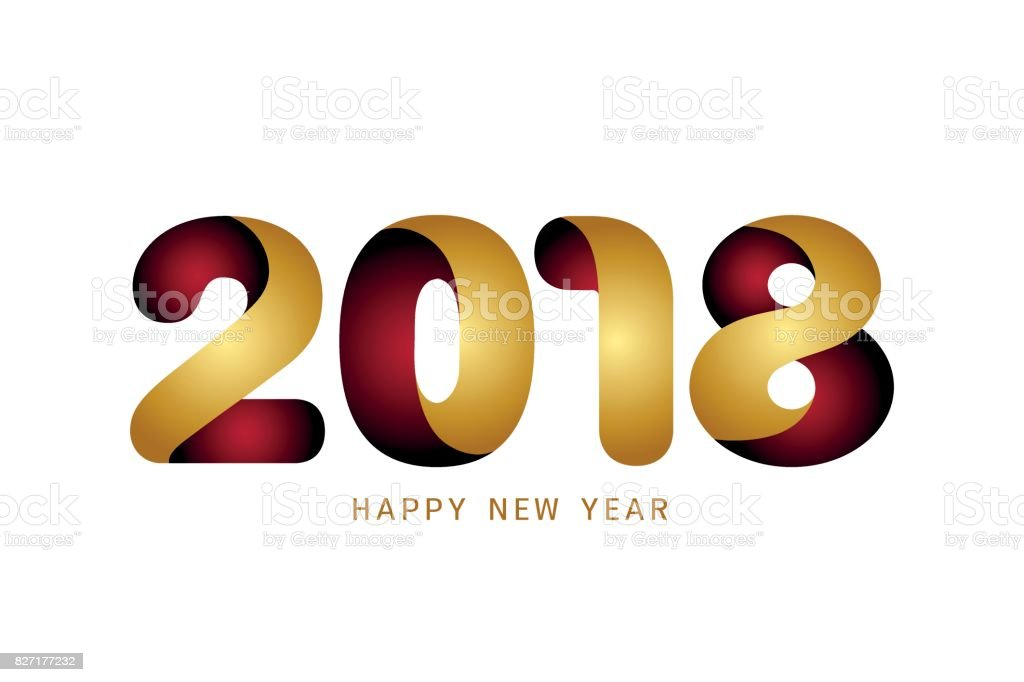 Happy New Year 2018 Text Design Modern Golden And Red Text Design On ...