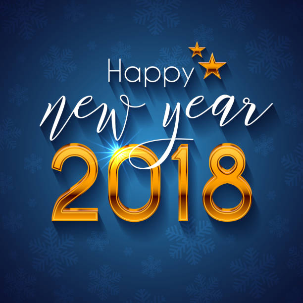 Happy New Year 2018 text design vector art illustration