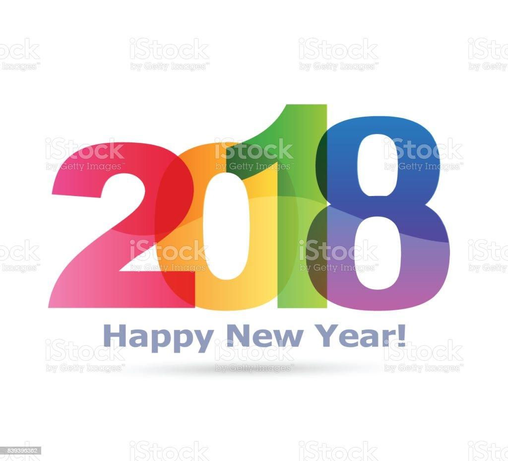 Happy new year 2018 Text Design vector vector art illustration
