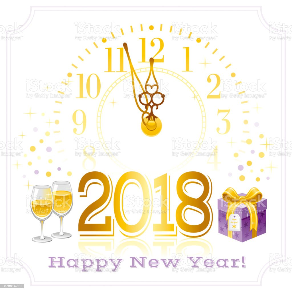 Happy New Year 2018 Text Symbol Icon Vector Poster With Clock Wine