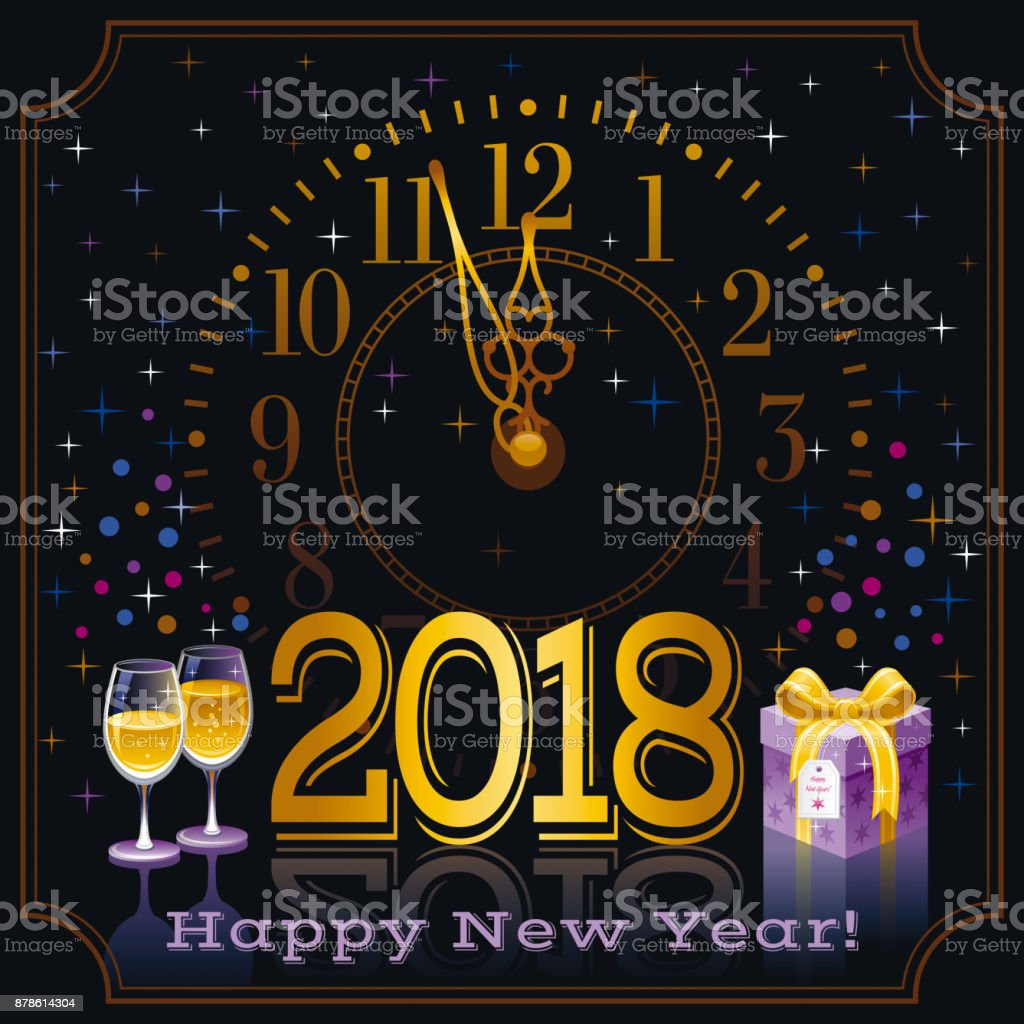happy new year 2018 text symbol icon vector poster with clock wine champagne glass