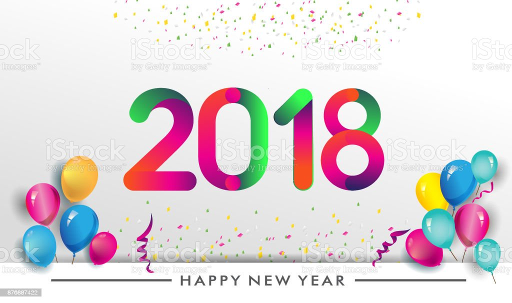 Happy New Year 2018 Typography Vector Design For Greeting Cards And ...