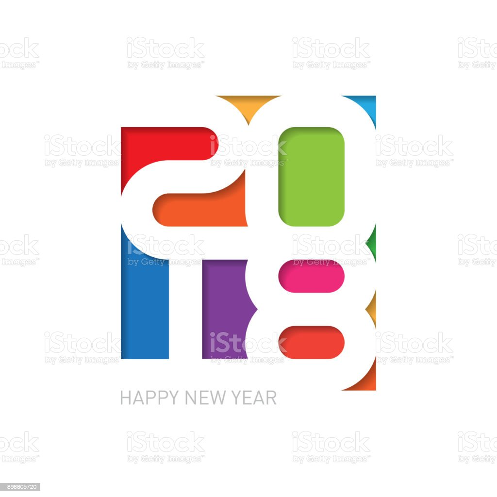 Happy New Year 2018 Vector Background Cover Of Business Diary Or