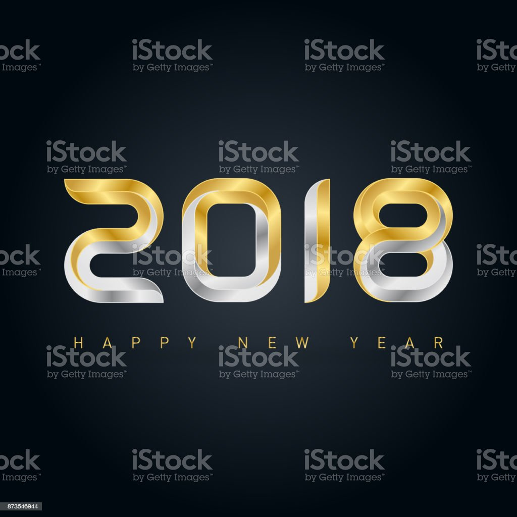 Happy New Year 2018 Vector Background With Gold And Silver Letters ...
