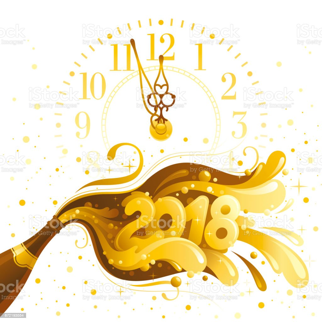 happy new year 2018 vector banner clock dial sparkling champagne wine bottle bubbles