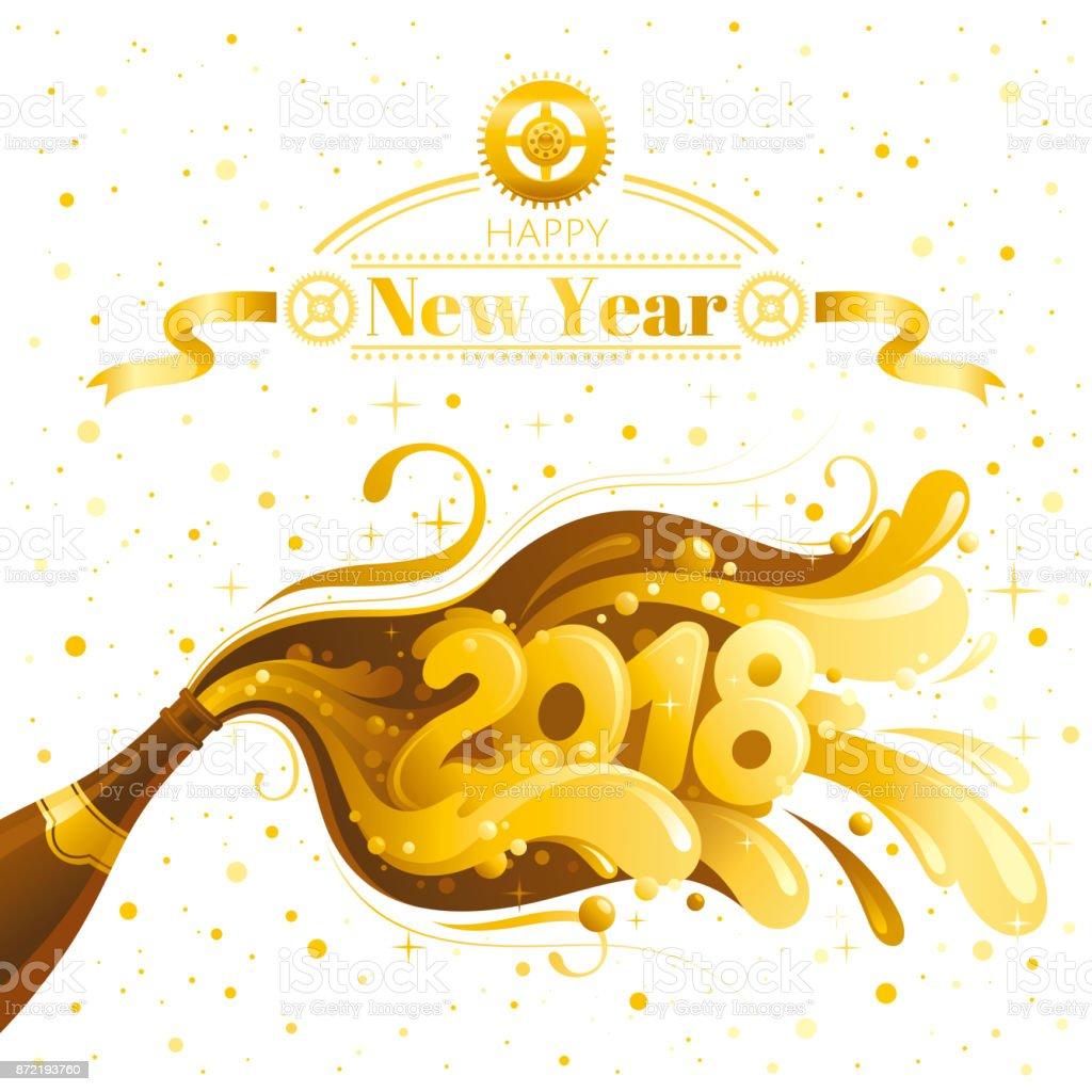 Happy New Year 2018 Vektor Banner Zifferblatt Prickelnden Champagner