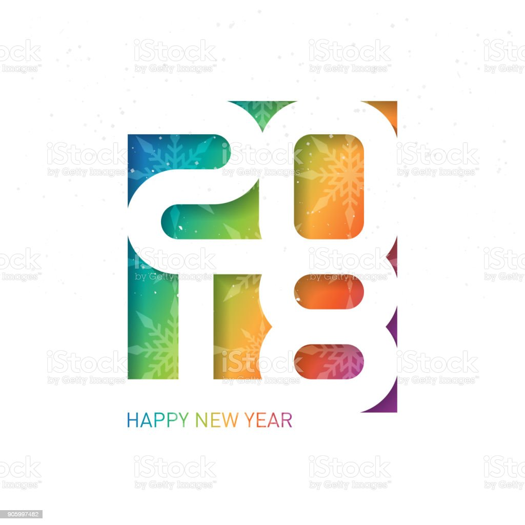 happy new year 2018 vector brochure design template greeting card with snowflakes cover