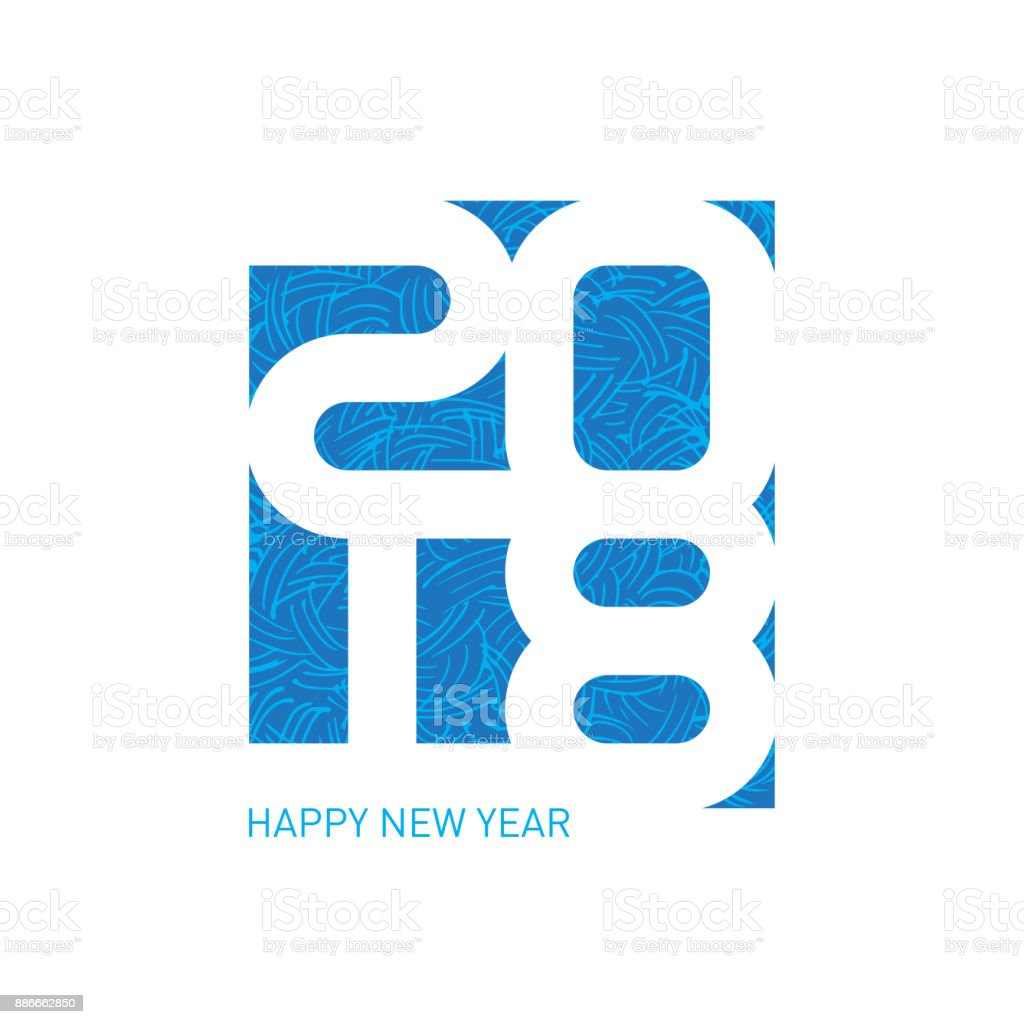 Happy New Year 2018 Vector Greeting Card With Ornament Cover Of ...
