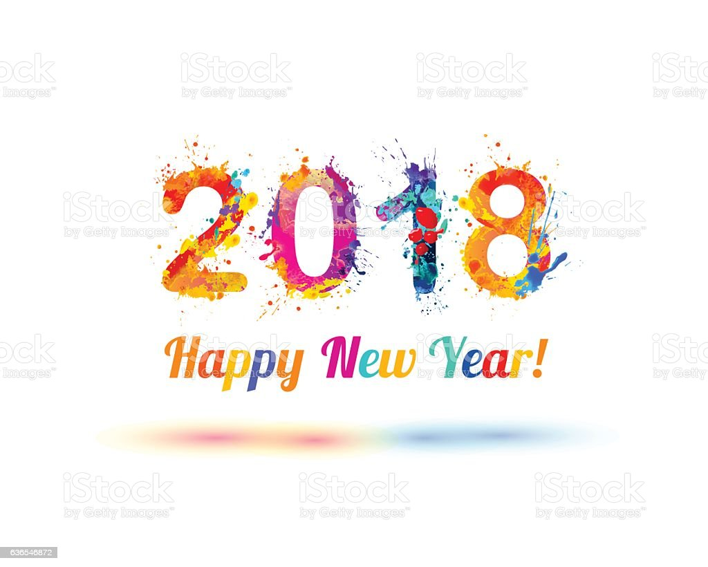 Happy New Year 2018 vector art illustration