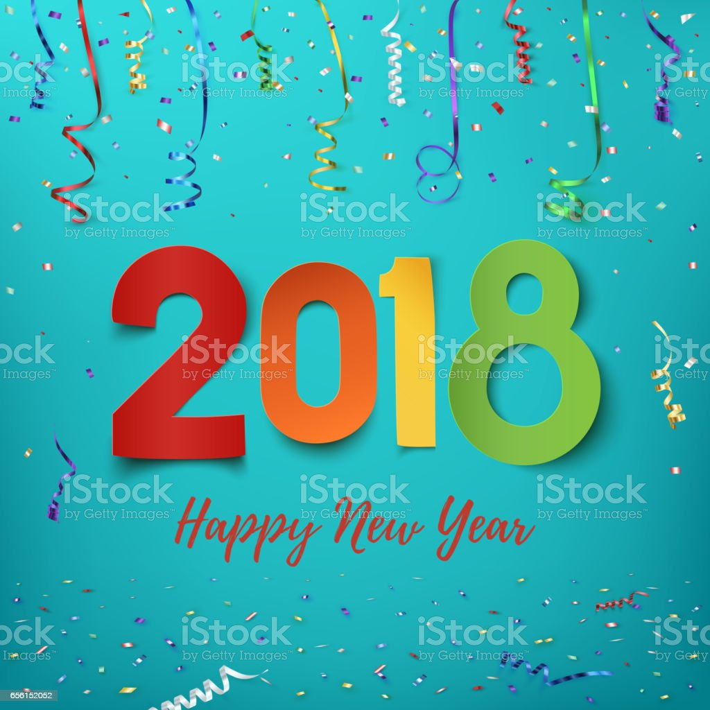 Happy New Year 2018. vector art illustration