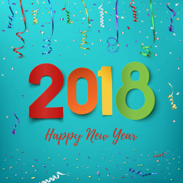 Happy New Year 2018. vector art illustration