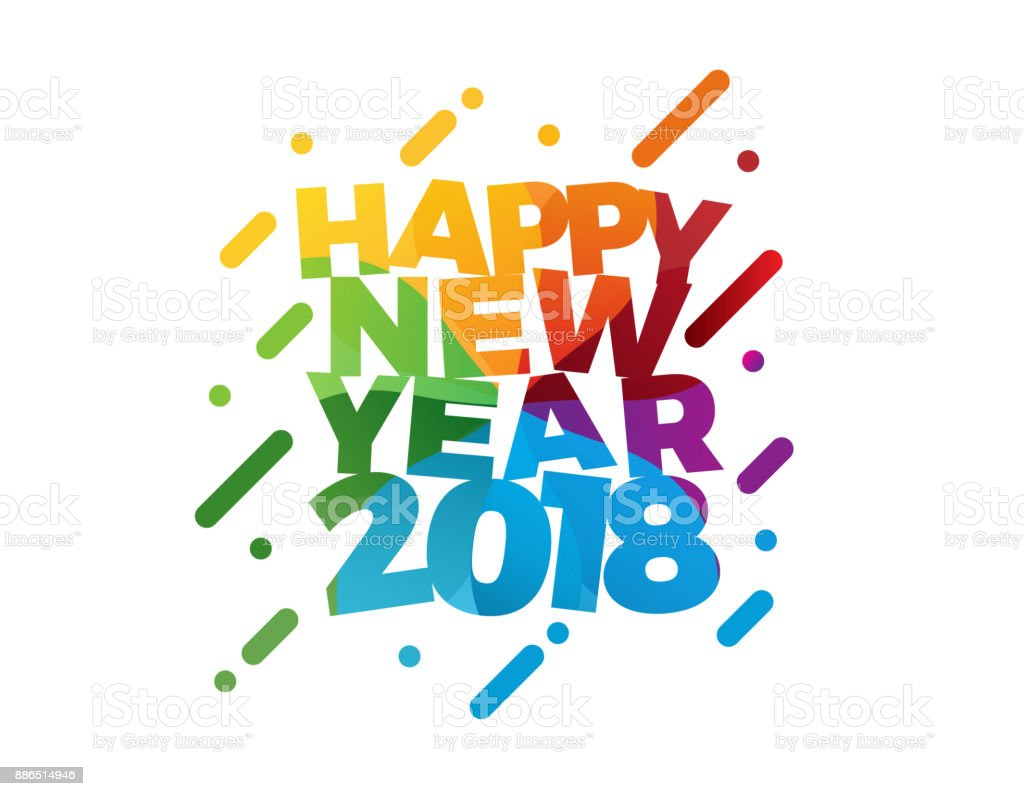 Happy New Year 2018 Vector Illustration Greeting Card Design Stock