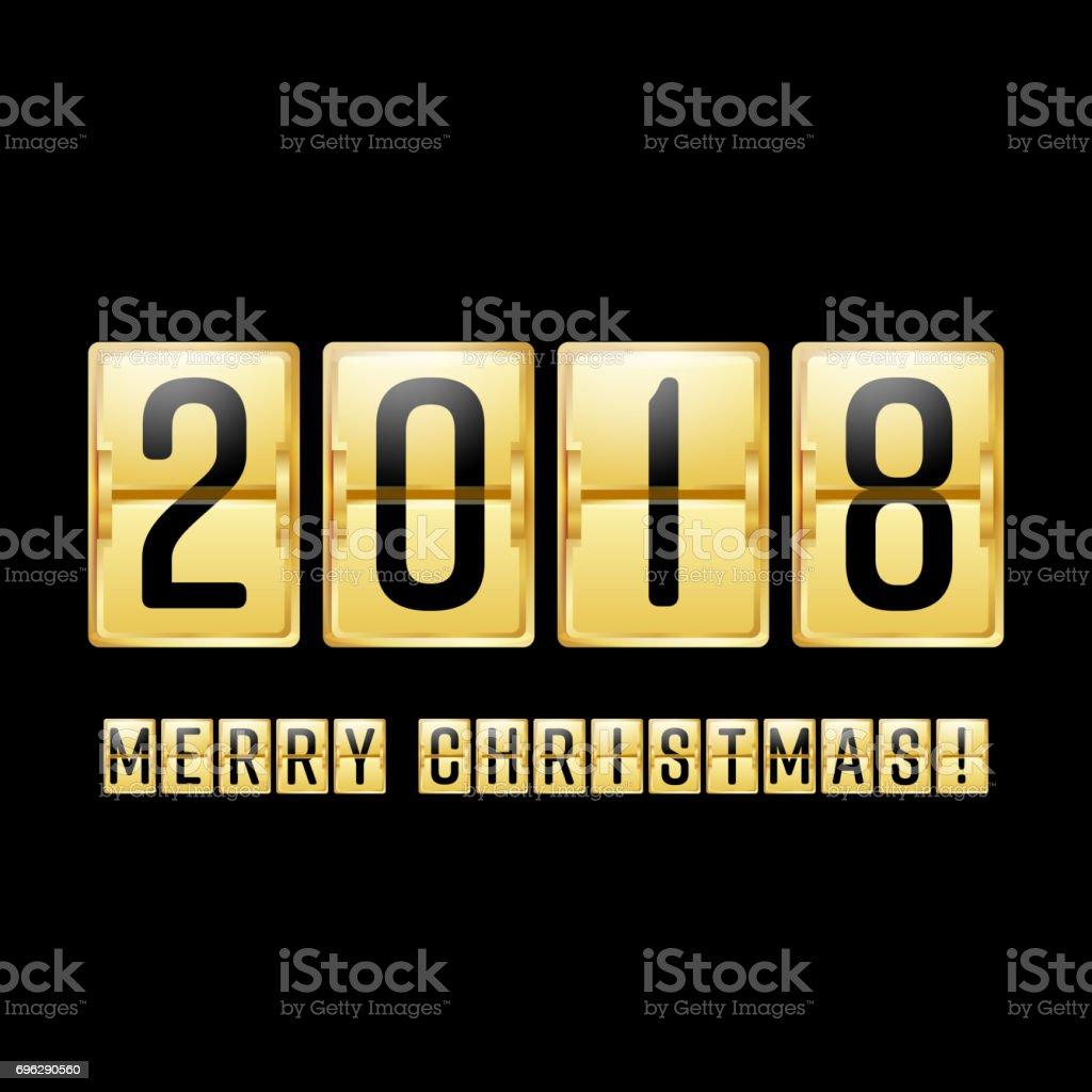 Happy New Year 2018 Vektoranzeigerzähler Chinesische Neujahr 2018 ...
