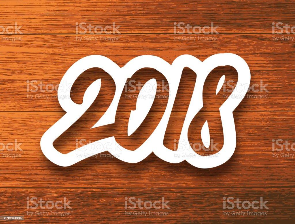 Feliz Año Nuevo 2018 Etiqueta De Papel Blanco Con Número ...