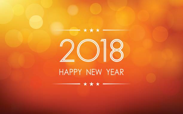happy new year 2018 with bokeh and lens flare pattern on summer orange color background vector art illustration