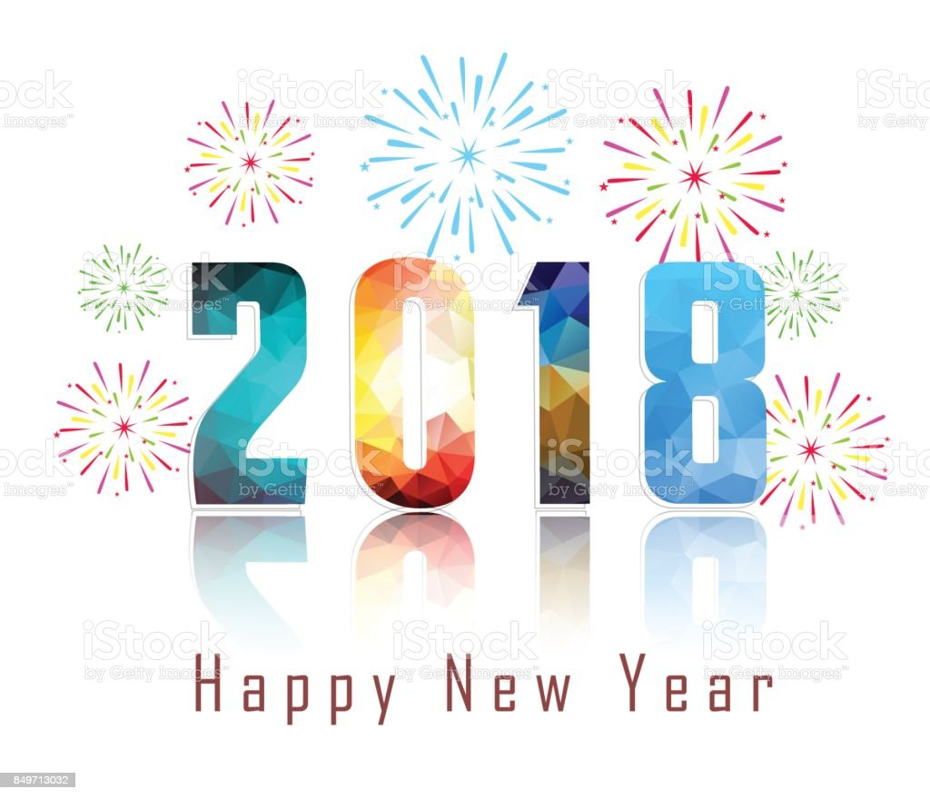 Happy new year 2018 with firework background stock vector art more happy new year 2018 with firework background royalty free happy new year 2018 with firework voltagebd Images