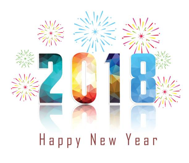 happy new year 2018 with firework background vector art illustration