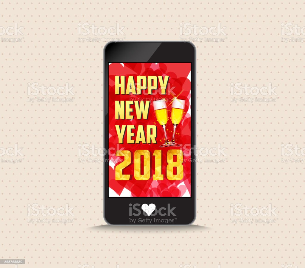 Happy new year 2018 with glasses phone greeting card stock vector happy new year 2018 with glasses phone greeting card royalty free happy new year 2018 m4hsunfo