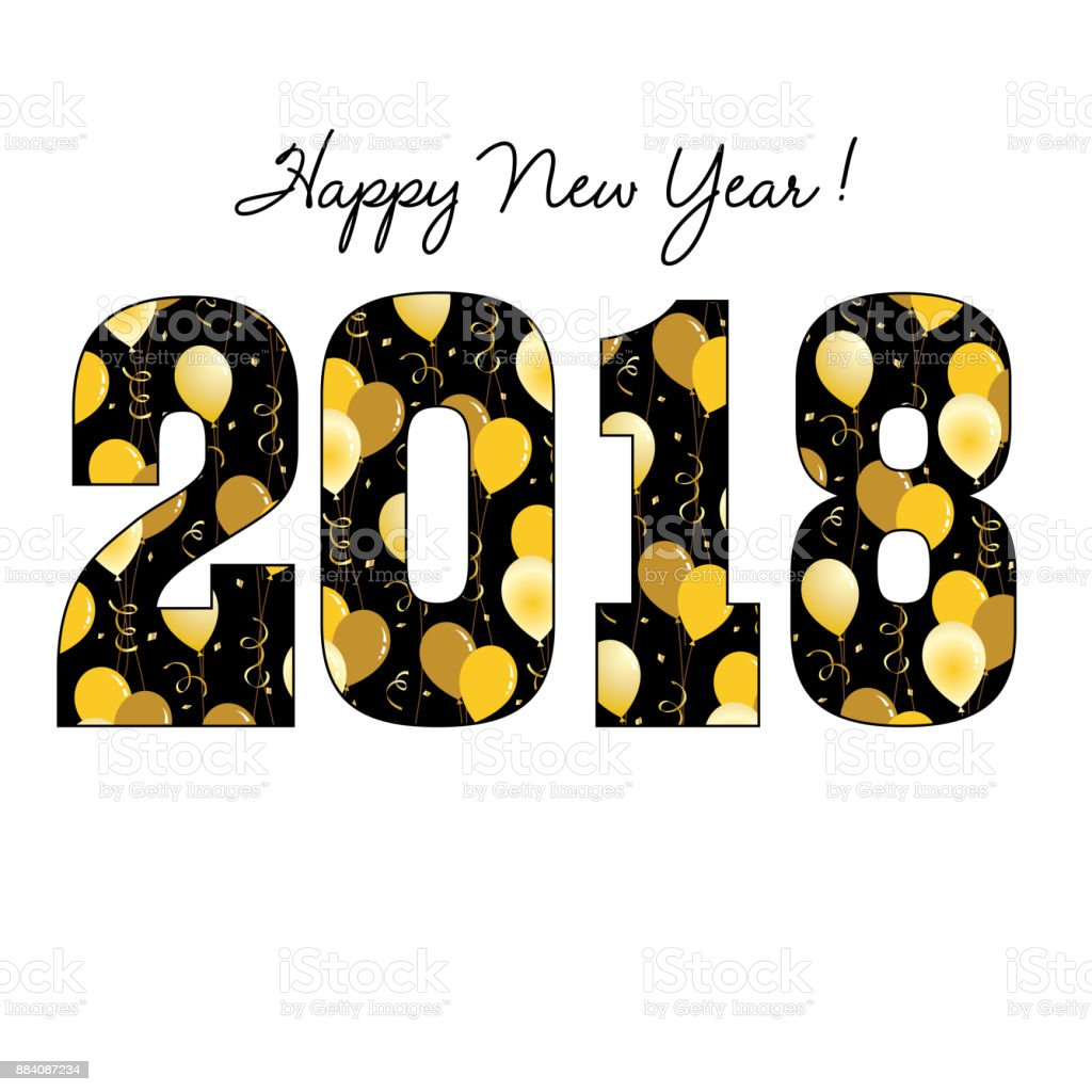 happy new year 2018 with gold balloon pattern royalty free happy new year 2018 with