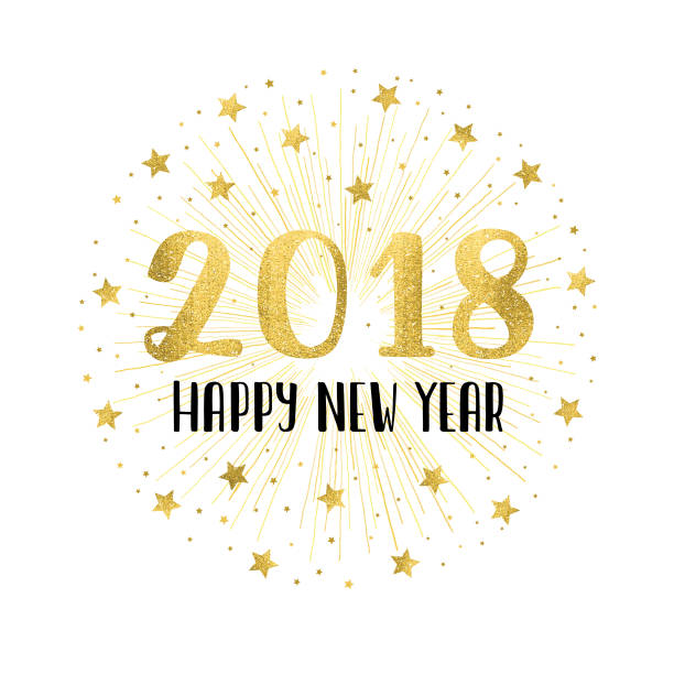happy new year 2018 with golden fireworks vector art illustration