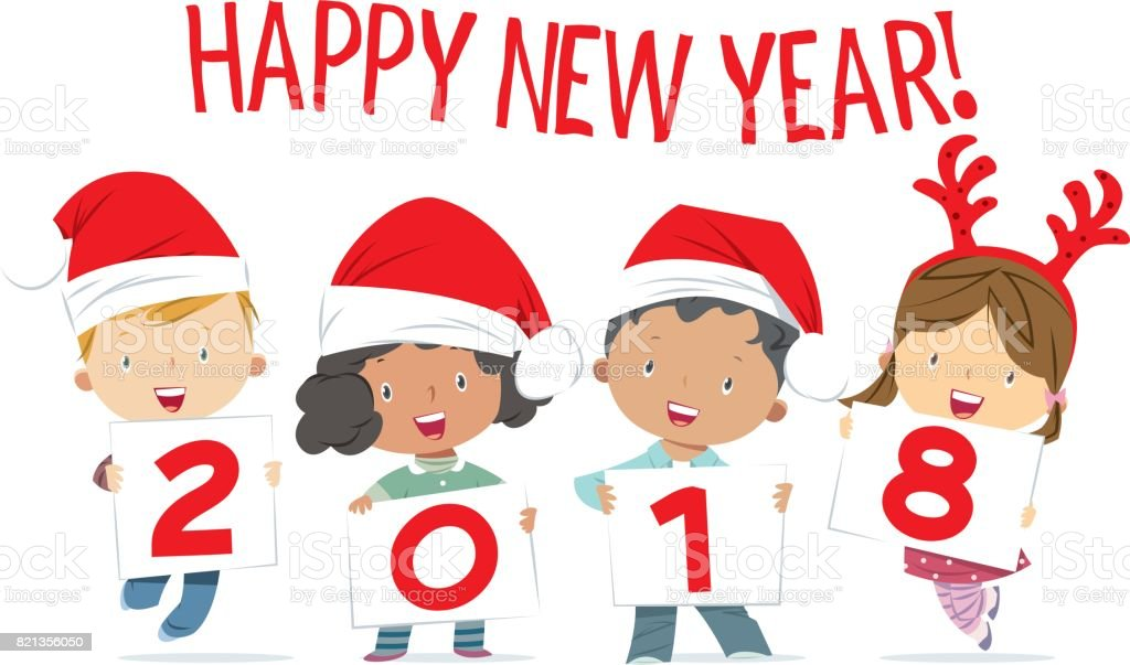 Happy New Year 2018 With Kids Funny Royalty Free Happy New Year 2018 With  Kids