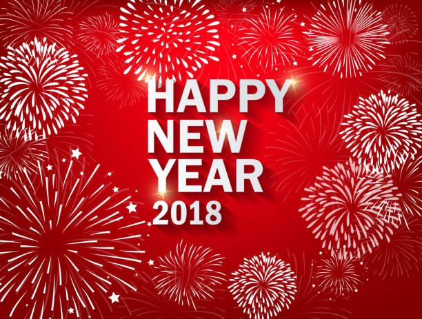 happy new year 2018 with realistic colorful fireworks background vector art illustration