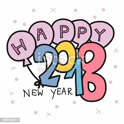 happy new year 2018 word and balloon stock vector art more images of 2015 868309514 istock