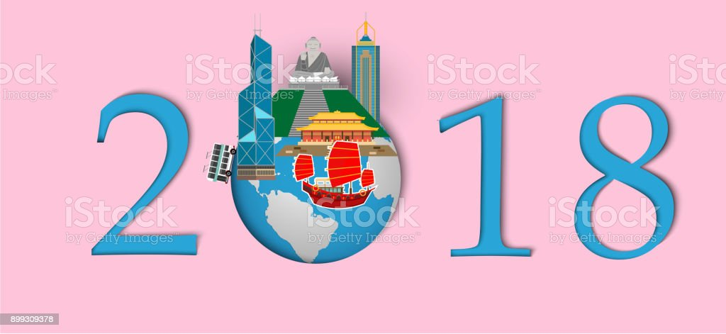 happy new year 2018landmarks of hongkong on the globepaper art and craft