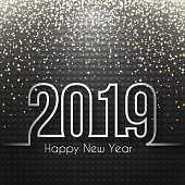 Happy new year 2019 with gold glitter and space for your text. Creative greeting card with a dark squares background. The layers are named to facilitate your customization. Vector Illustration (EPS10, well layered and grouped). Easy to edit, manipulate, resize or colorize. Please do not hesitate to contact me if you have any questions, or need to customise the illustration. http://www.istockphoto.com/portfolio/bgblue