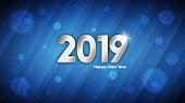 Happy New Year 2019 abstract template. Vector illustration of silver text with holiday snowflakes pattern over light blue background for your poster, banner, invitation or greeting card design