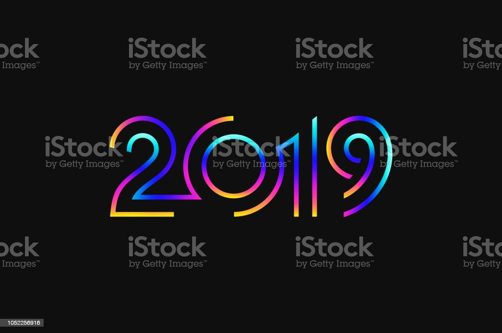 Happy new year 2019 abstract greeting card fluorescent - New year 2019 color ...