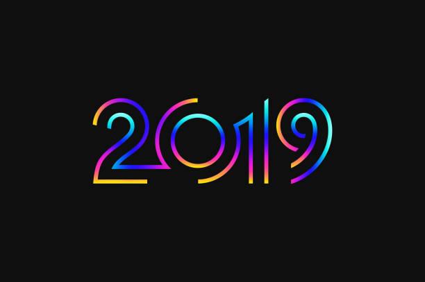 ilustrações, clipart, desenhos animados e ícones de feliz ano novo de 2019. cartão abstrato. cor fluorescente - 2019
