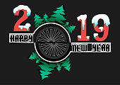 Happy new year 2019 and bicycle wheel