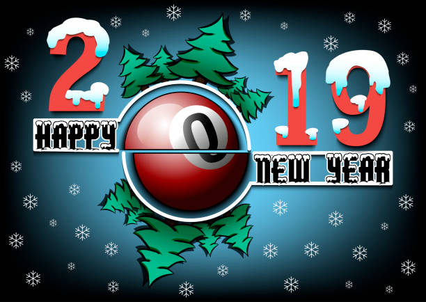 happy new year 2019 and billiard ball vector art illustration
