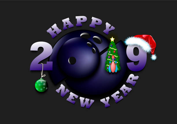 happy new year 2019 and bowling ball vector art illustration