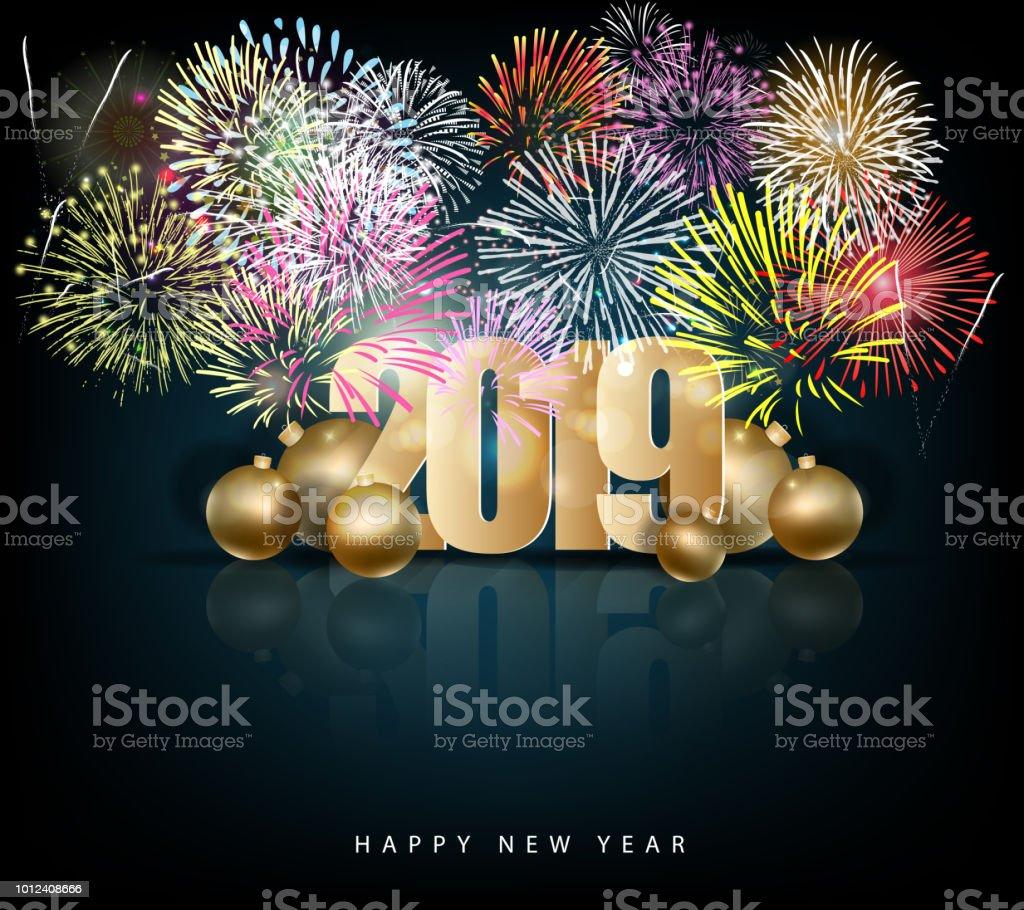 Frohes Neues Jahr 2019 Und Frohe Weihnachten Stock Vektor Art und ...
