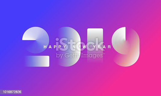 Abstract gradient Happy New Year 2019 Background for your Christmas. EPS 10 vector illustration, contains transparencies. High resolution jpeg file included.