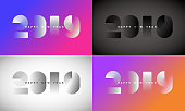 Abstract gradient Happy New Year 2019 Background  set for your Christmas. EPS 10 vector illustration, contains transparencies. High resolution jpeg file included.