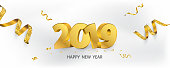 Happy New Year 2019 background. Greeting card design template gold confetti. Celebrate brochure or flyer.