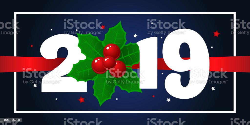 Happy New Year 2019 Background Greeting Card Design Template