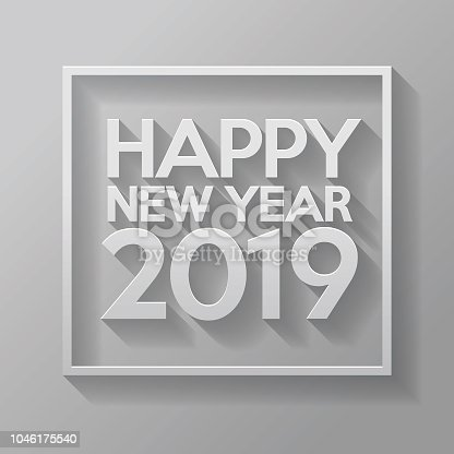 A Happy New Year 2019 sign on a white paper background. The vector file is built in the CMYK color space for optimal printing. EPS contains transparencies.