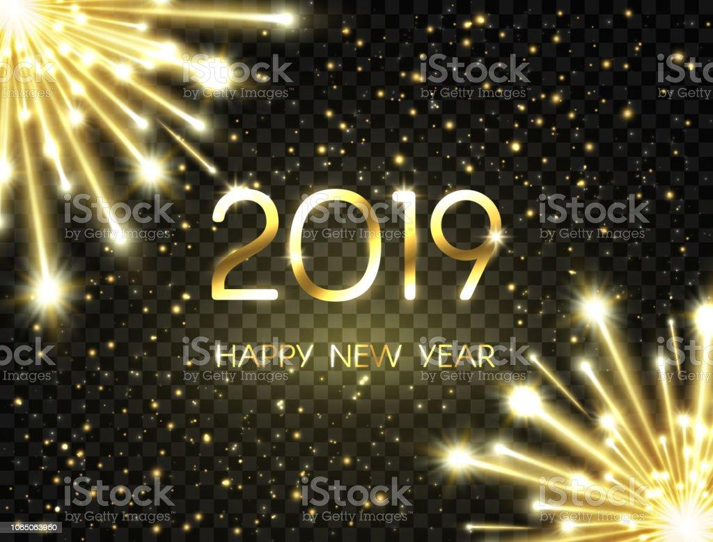 Ilustracion De Feliz Ano Nuevo 2019 Fondo Con Texto Dorado Brillante