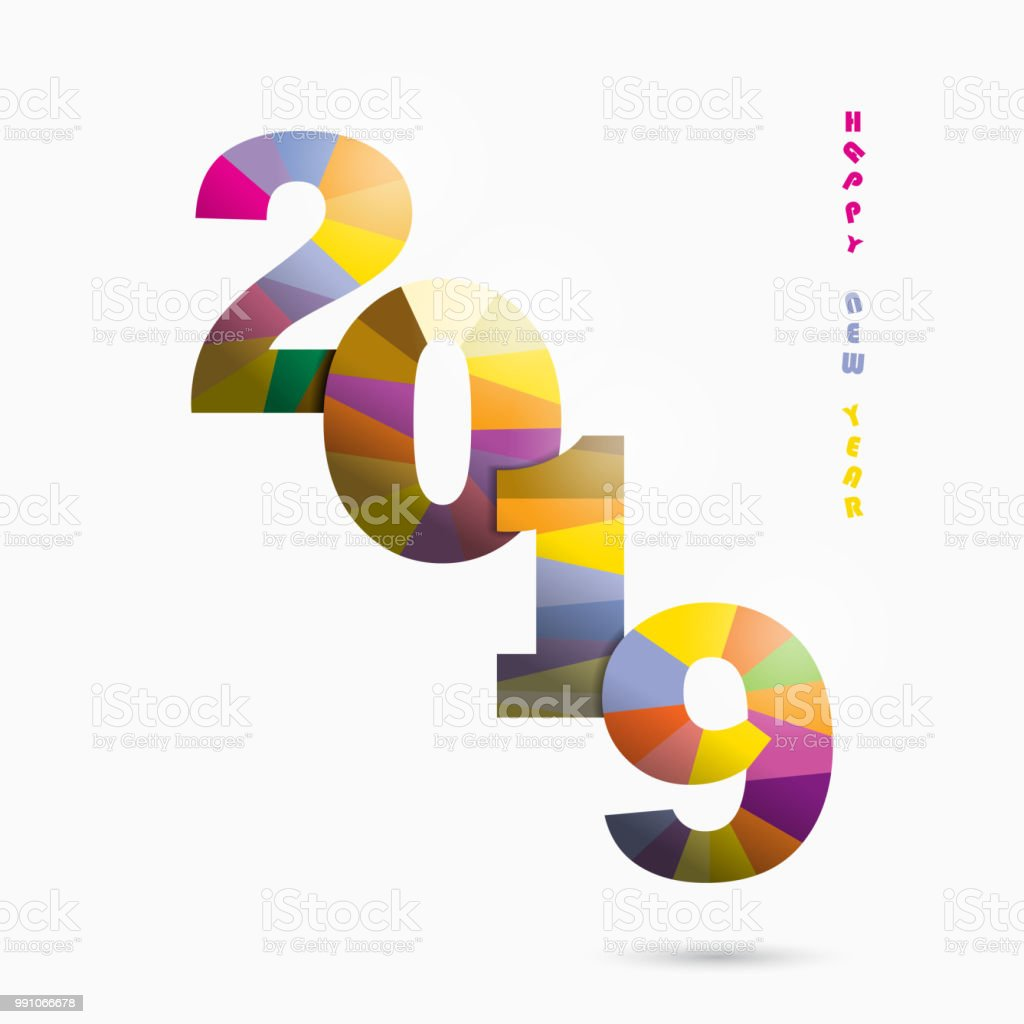 Happy New Year 2019 Backgroundcolorful Greeting Card Designvector