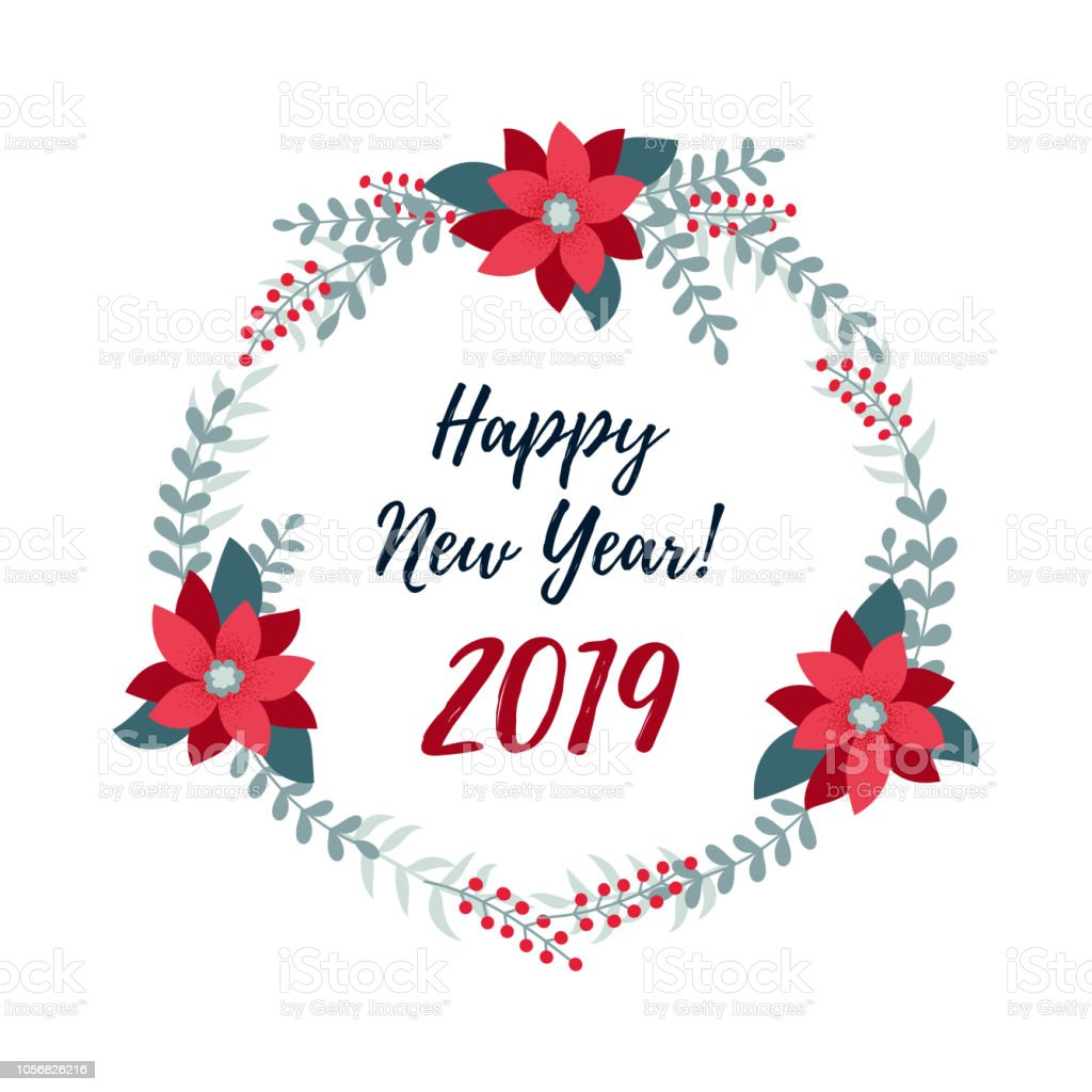 happy new year 2019 banner christmas wreath merry christmas and happy new year 2019