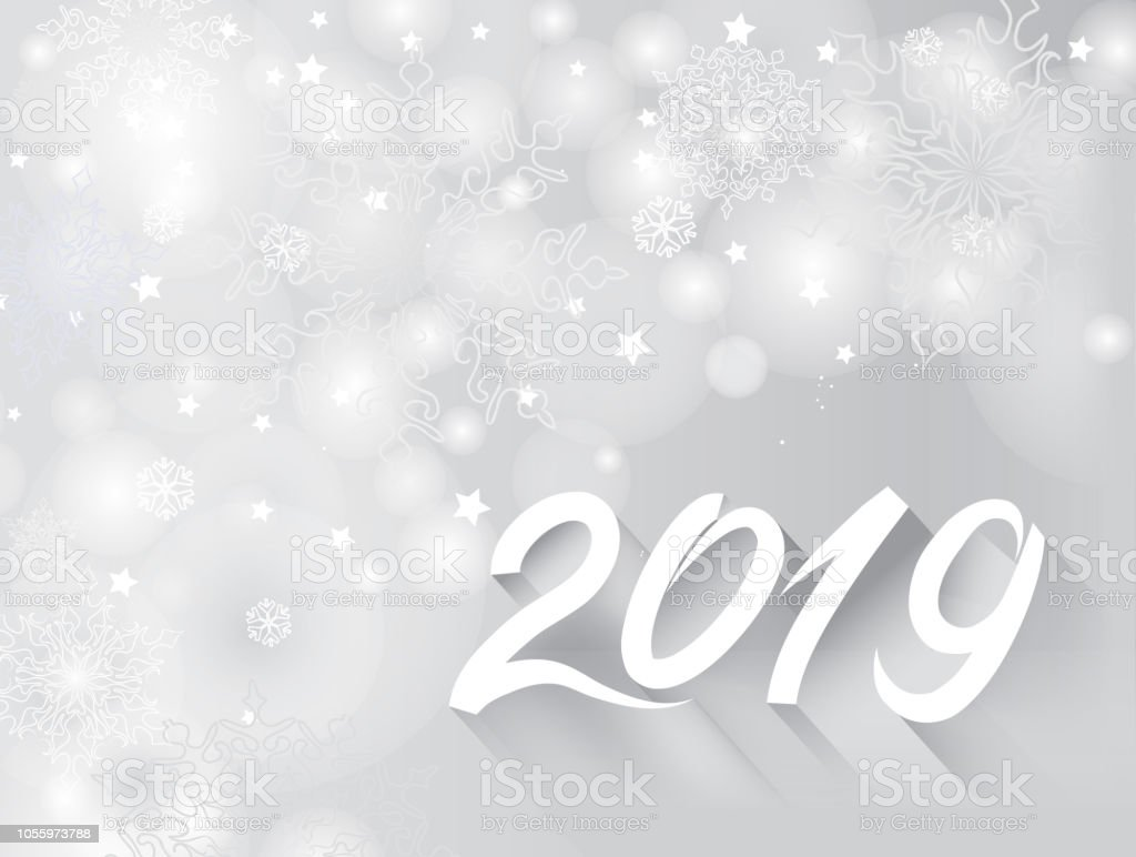 happy new year 2019 banner over snow blurry winter holiday. Black Bedroom Furniture Sets. Home Design Ideas