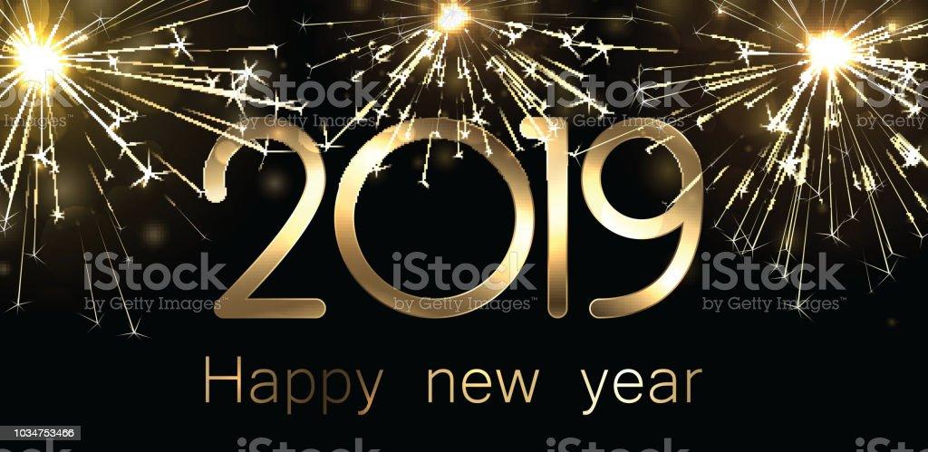 Ilustracion De Banner De Feliz Ano Nuevo 2019 Con Oro Brillantes
