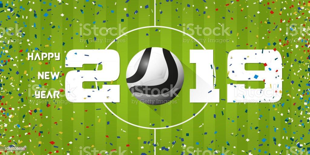 Banner de feliz año nuevo 2019 con confeti de bola y el papel de fútbol  sobre 6085d4a911776