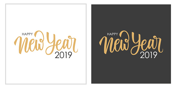 Happy New Year 2019 calligraphic lettering text design cards set. Creative typography for new year holiday greetings and invitations.