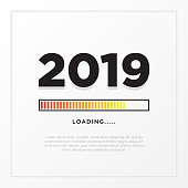 Happy New Year 2019 card theme. yellow loading time button on white gradient background